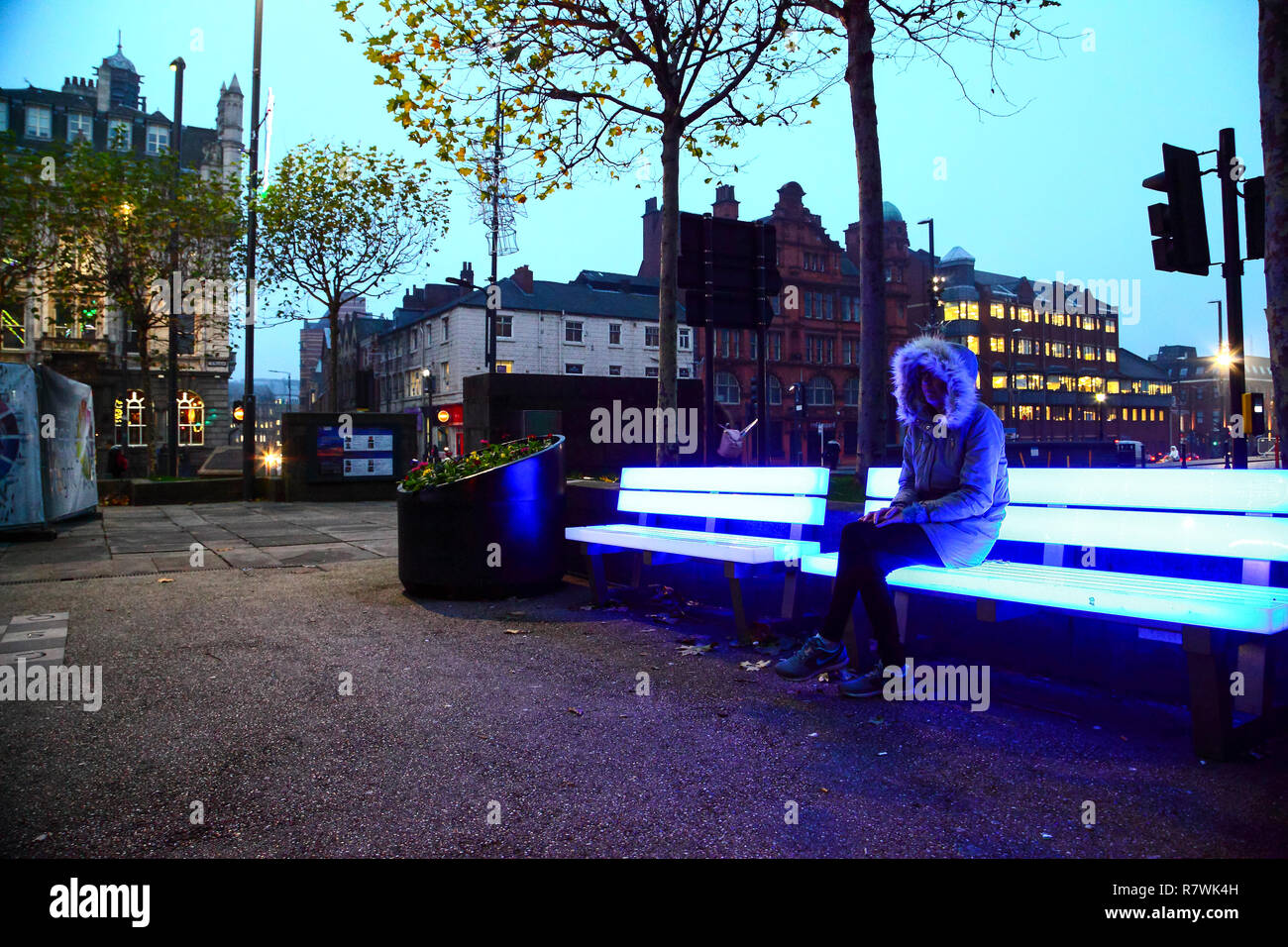 Leeds, UK. 11th December 2018 - Leeds, UK. Late afternoon shoppers in Leeds were met with an array of Christmas lights and festive displays. Among the displays were five illuminated benches situated outside Leeds Art Gallery and library. Credit: Drew Gardner/Alamy Live News Stock Photo
