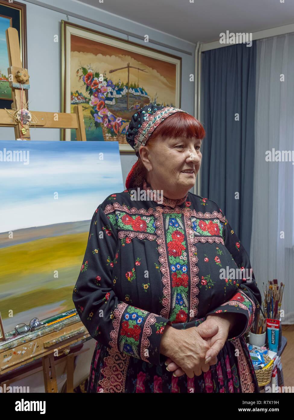 Slowakian minority, naive painter Zuzana Veresky, Kovacica,, Vojvodina, Serbia, Europe - Stock Image