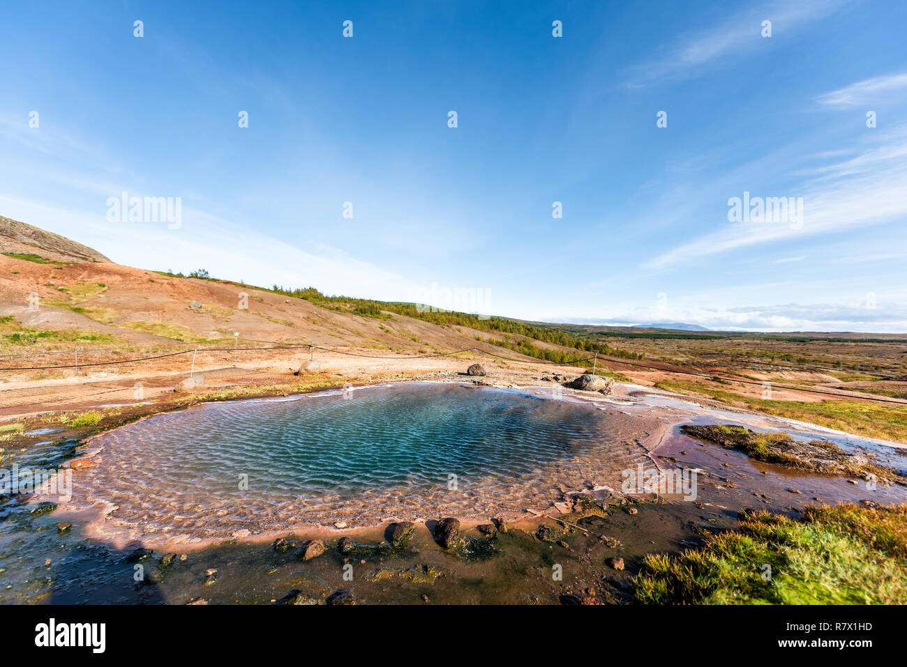 Haukadalur Valley, Iceland Geyser landscape with nobody in south Icelandic country, Hot Springs geothermal Golden Circle, colorful pool Stock Photo