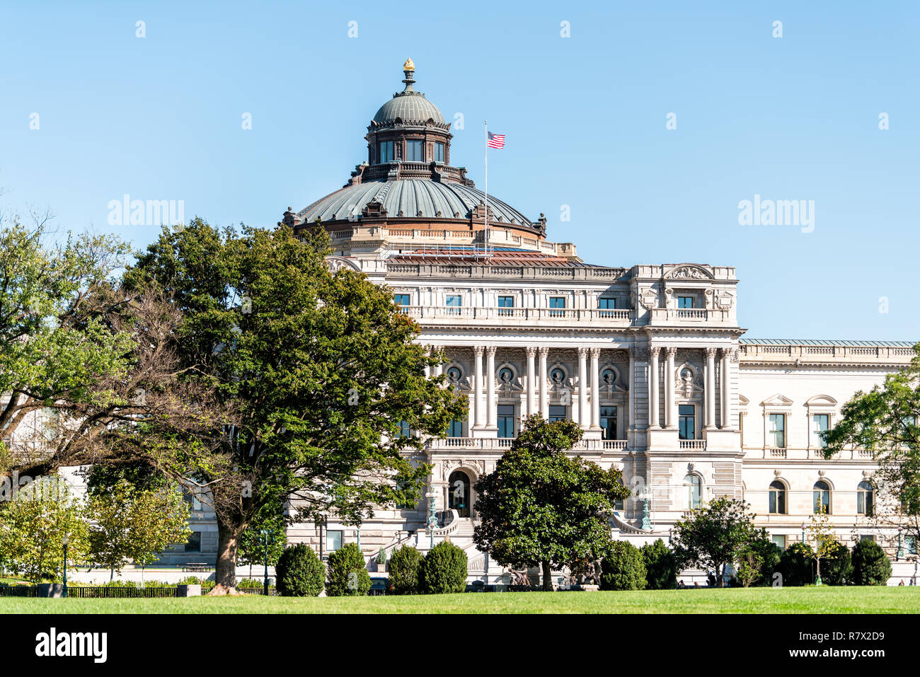 US National Library of Congress dome exterior with American flag waving in Washington DC, USA on Capital capitol hill, columns, facade landscape build Stock Photo