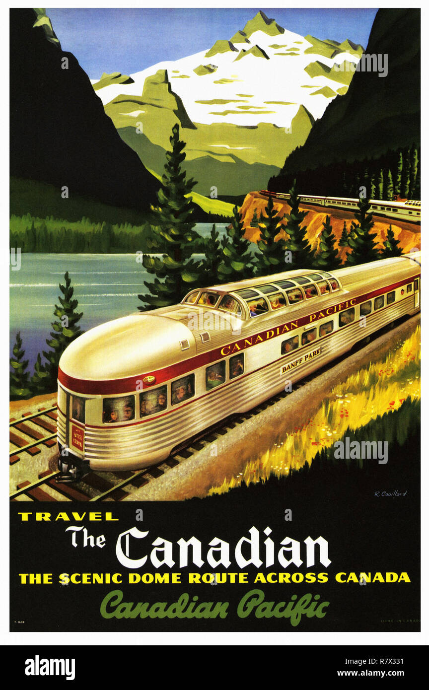 Art Deco Travel Posters Lovely  Retro Holiday Tourism Rocky Mountains Canada