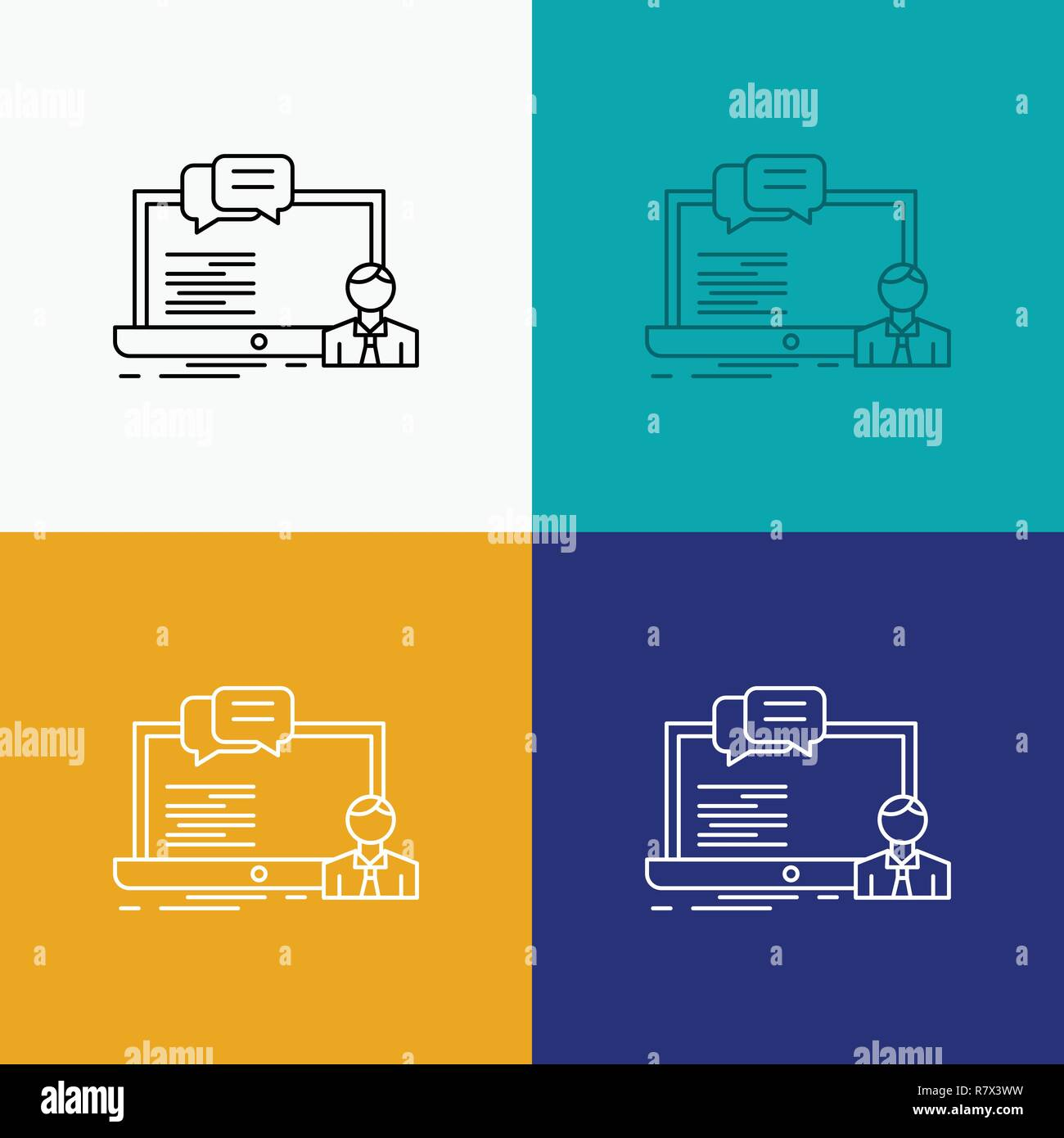 training, course, online, computer, chat Icon Over Various
