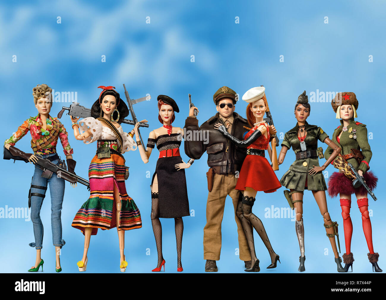 The dolls of 'Welcome to Marwen,' directed by Robert Zemeckis (from left): Roberta (Merritt Wever), Carlala (Eiza Gonzalez), Suzette (Leslie Zemeckis), Cap'n Hogie (Steve Carell), Nicol (Leslie Mann), GI Julie (Janelle Monáe) and Anna (Gwendoline Christie). Photo Credit: Universal Pictures and Storyteller Distribution Co., LLC. / The Hollywood Archive - Stock Image