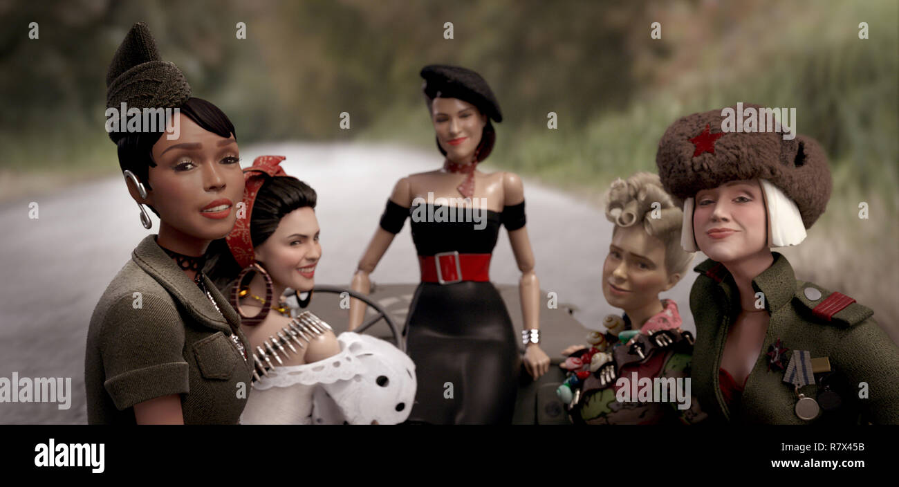 The dolls of the fictional town of Marwen (from left): GI Julie (Janelle Monáe), Carlala (Eiza Gonzalez), Suzette (Leslie Zemeckis), Roberta (Merritt Wever) and Anna (Gwendoline Christie) in 'Welcome to Marwen,' directed by Robert Zemeckis.  Photo Credit: Universal Pictures and Storyteller Distribution Co., LLC. / The Hollywood Archive - Stock Image