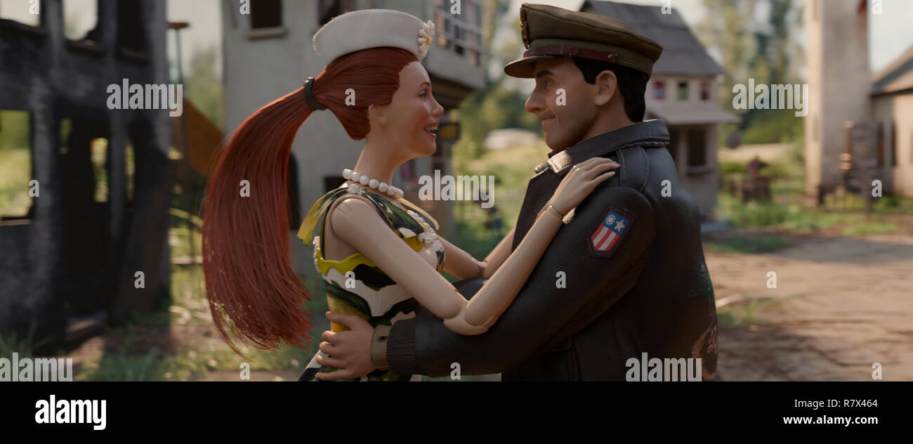 The dolls of Nicol (Leslie Mann) and Cap'n Hogie (Steve Carell) in 'Welcome to Marwen,' directed by Robert Zemeckis.  Photo Credit: Universal Pictures and Storyteller Distribution Co., LLC. / The Hollywood Archive - Stock Image