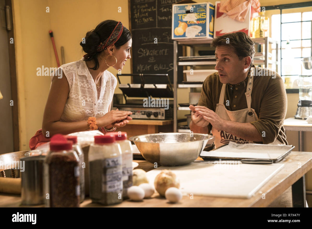 Eiza Gonzalez as Carlala, the supportive co-worker of Mark Hogancamp, played by Steve Carell, in 'Welcome to Marwen,' directed by Robert Zemeckis.  Photo Credit: Universal Pictures and Storyteller Distribution Co., LLC. / The Hollywood Archive - Stock Image