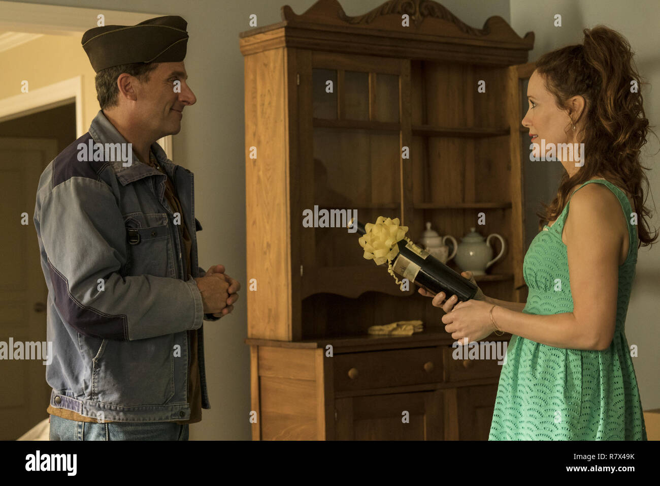 Steve Carell as Mark Hogancamp and Leslie Mann as Mark's new neighbor, Nicol, in 'Welcome to Marwen,' directed by Robert Zemeckis.  Photo Credit: Universal Pictures and Storyteller Distribution Co., LLC. / The Hollywood Archive - Stock Image