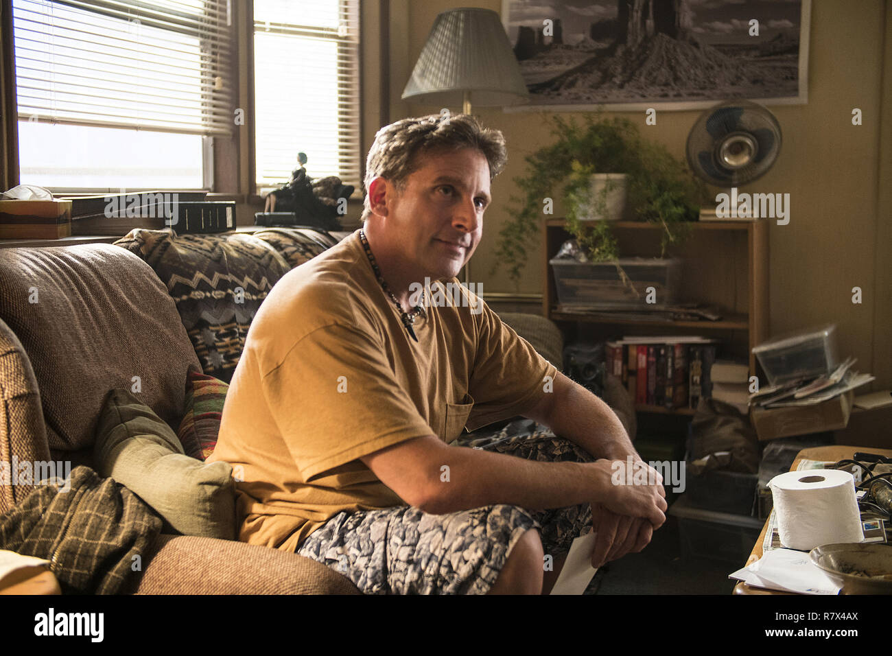Steve Carell as Mark Hogancamp in 'Welcome to Marwen,' directed by Robert Zemeckis.  Photo Credit: Universal Pictures and Storyteller Distribution Co., LLC. / The Hollywood Archive - Stock Image