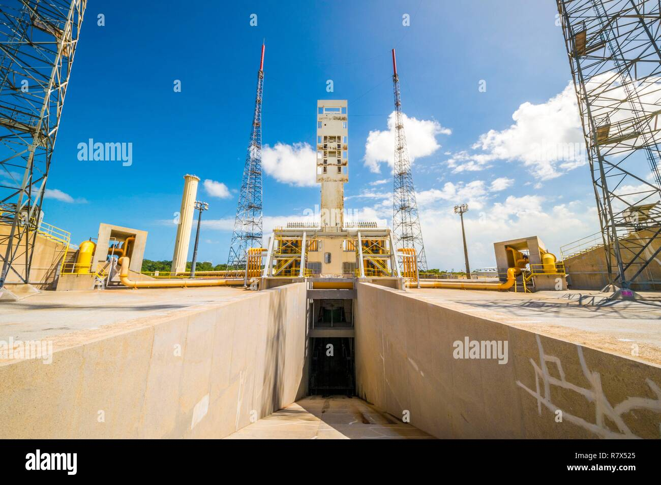 France, French Guiana, Kourou, Guiana Space Center (CSG), launch area of the Ariane V rocket, flares (deflectors of jets) of the Vulcain engine and the two booster thrusters (EAP) - Stock Image