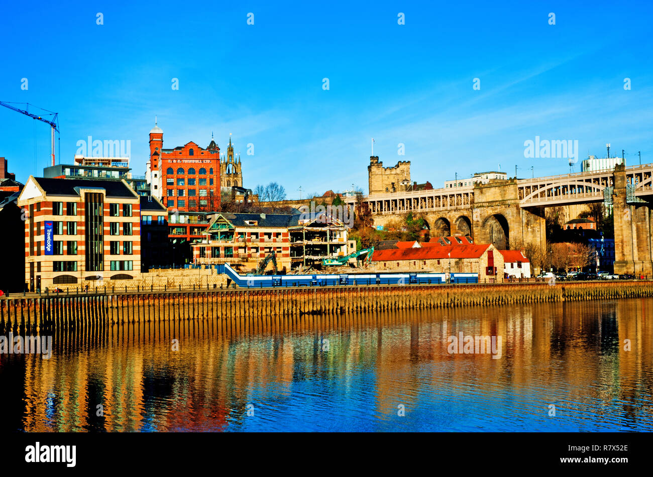 Travelodge and construction work on Quayside, Newcastle on Tyne, England Stock Photo