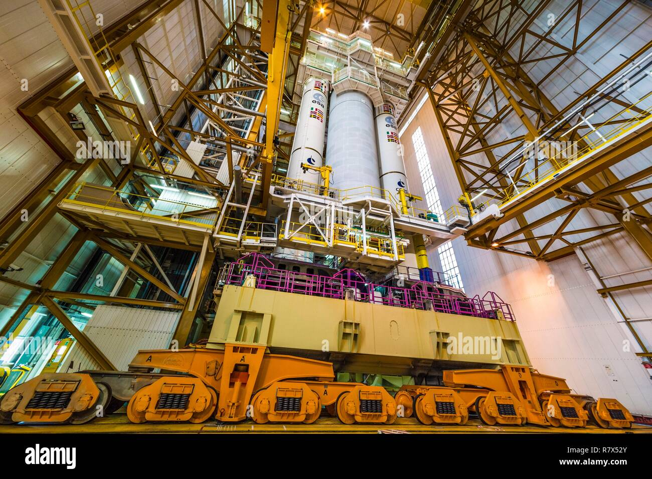 France, French Guiana, Kourou, Guiana Space Center (CSG), Ariane V rocket on the assembly table, during a mounting campaign inside the Launcher Integration Building (BIL) - Stock Image