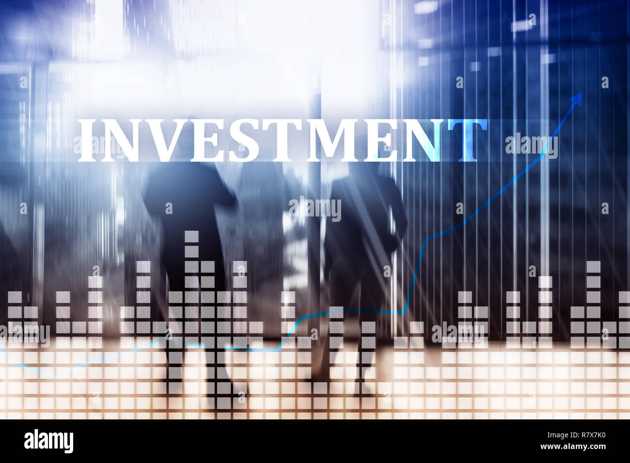 Investment, ROI, financial market concept. People in jackets on the background of the city - Stock Image