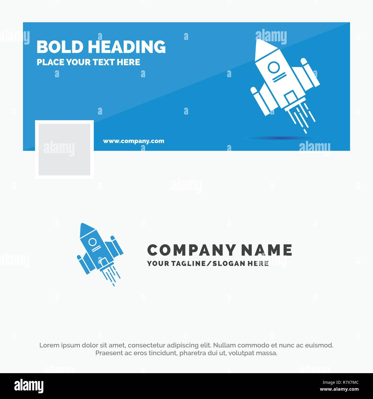 Blue Business Logo Template For Space Craft Shuttle Space Rocket
