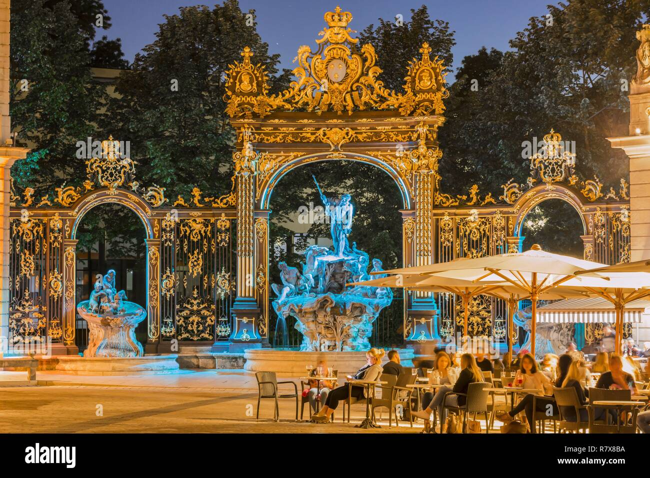 France, Meurthe et Moselle, Nancy, Place Stanislas or former Royal Place listed as World Heritage by UNESCO built by Stanislas Leszczynski king of Poland and last Duke of Lorraine in the 18th century, the fountain of Neptune - Stock Image