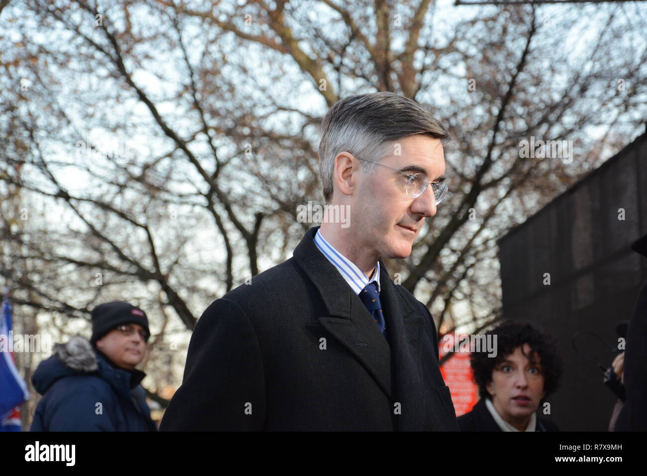 Jacob Rees Mogg on College Green on the day the Meaningful Vote should have taken place - Tuesday 11th December. - Stock Image