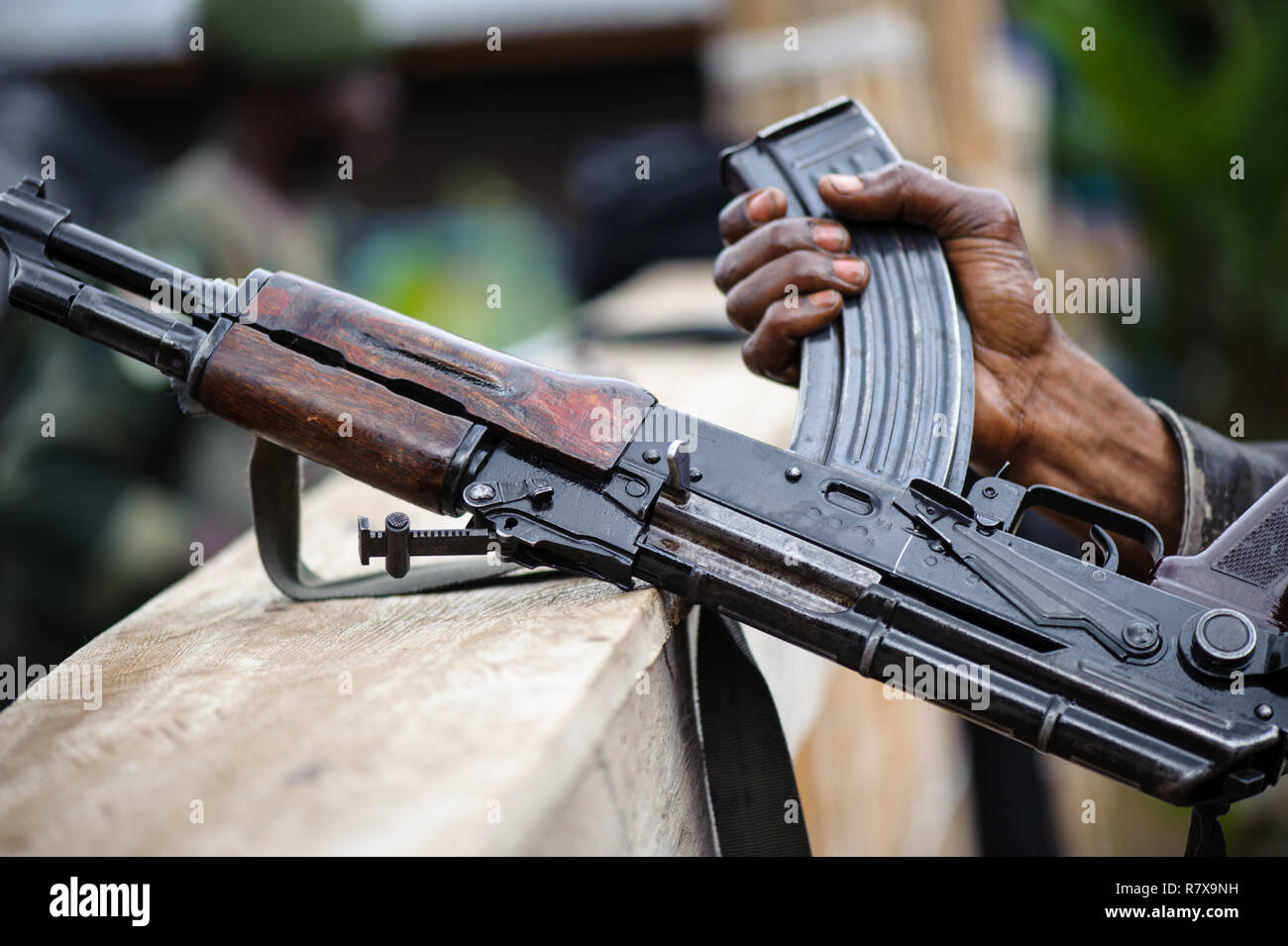 DRC national army soldiers, armed with Kalashnikov AK-47 rifles in Virunga National Park, North Kivu, Democratic Republic of Congo - Stock Image