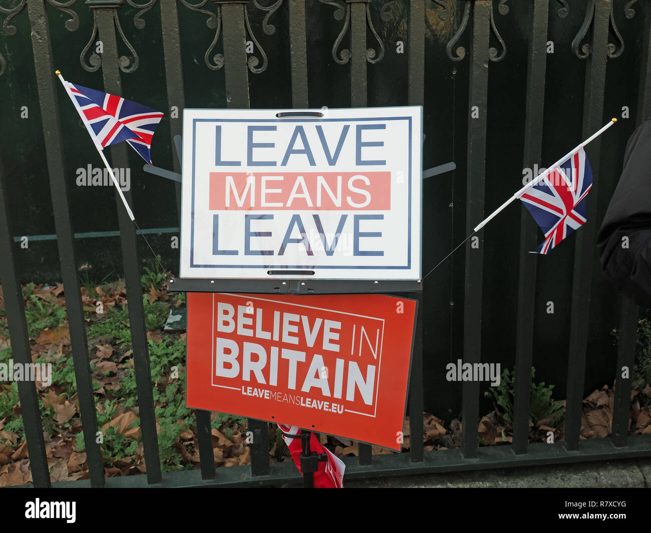 View of placards at a pro-Brexit demonstration with the slogan 'Leave means Leave' - Stock Image