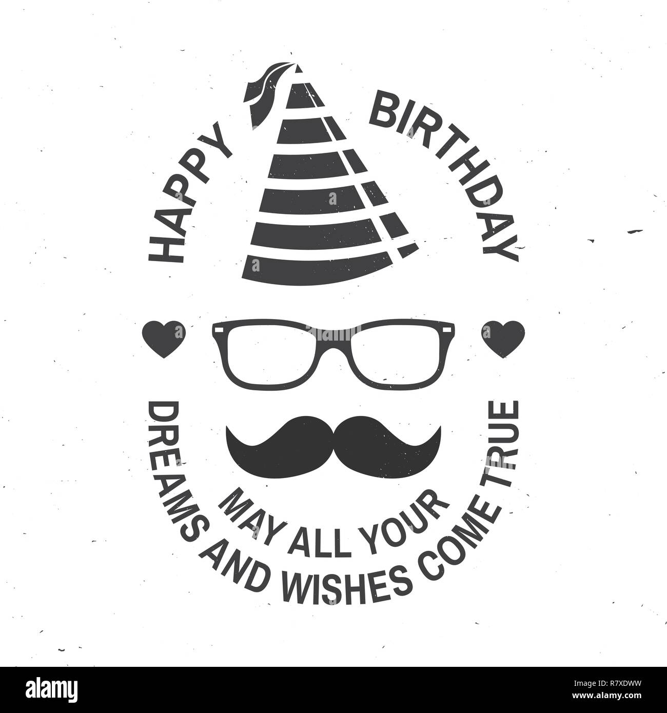 Stamp Badge Sticker Card With Eyeglasses Mustache And Birthday Hat Vector Design For Celebration Emblem In Retro Style