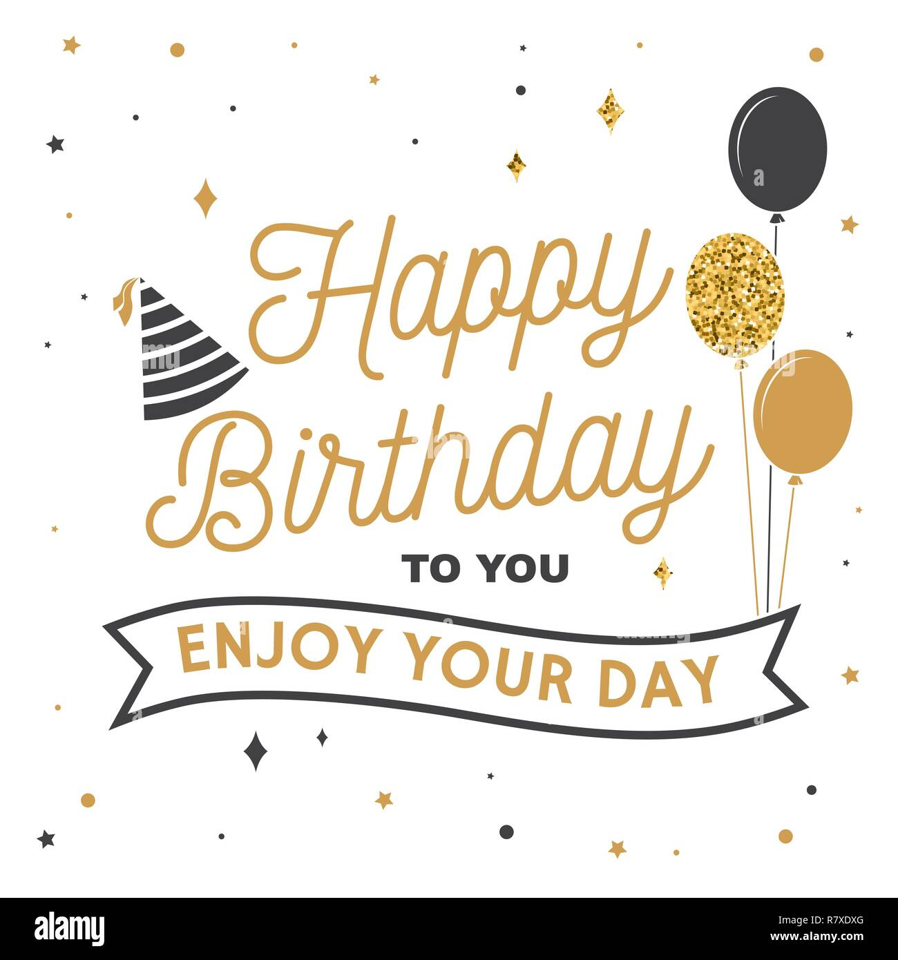 Happy Birthday To You Enjoy Your Day Stamp Badge Sticker Card With Bunch Of Balloons And Hat Vector Vintage Typographic Design For