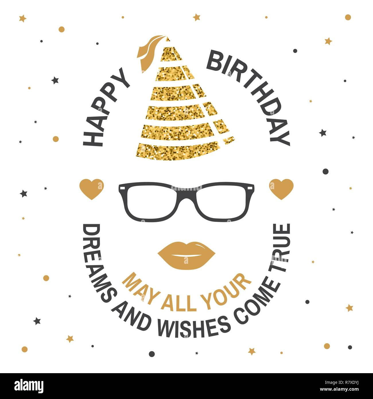 Stamp Badge Sticker Card With Eyeglasses Lips And Birthday Hat Vector Design For Celebration Emblem In Retro Style