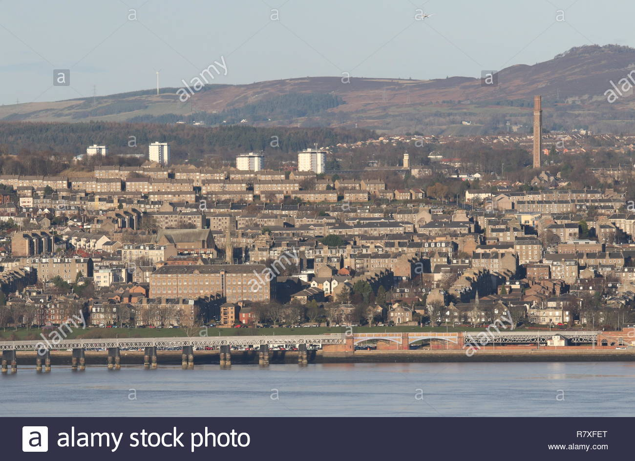 Tay Rail Bridge with Cox's stack chimney Dundee Scotland  December 2018 - Stock Image