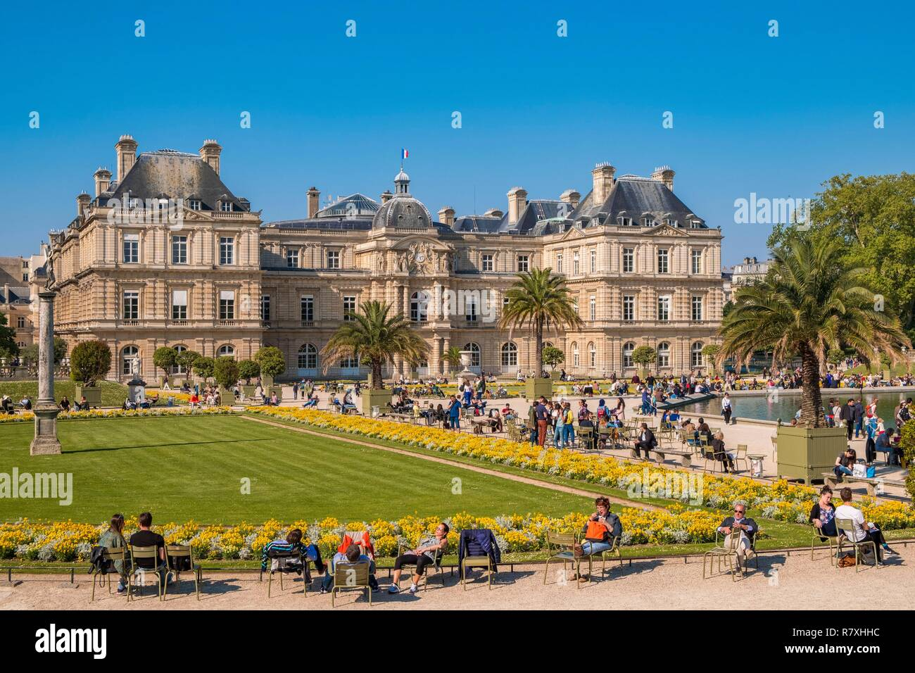 France Paris The Luxembourg Gardens The Basin And The
