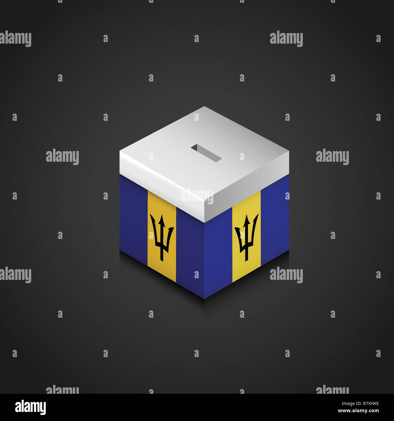 Barbados Flag Printed on Vote Box - Stock Vector