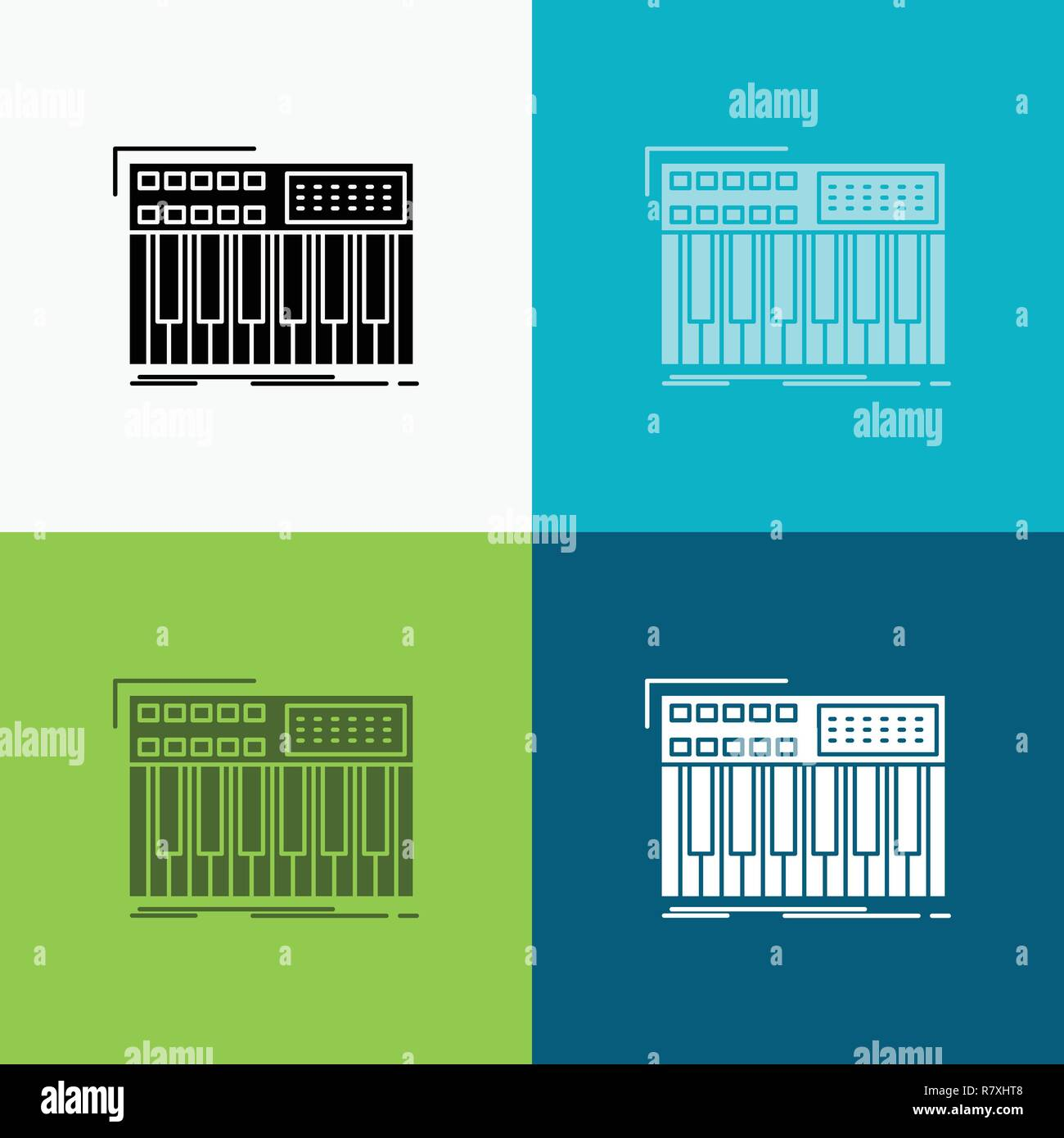 synth, keyboard, midi, synthesiser, synthesizer Icon Over Various