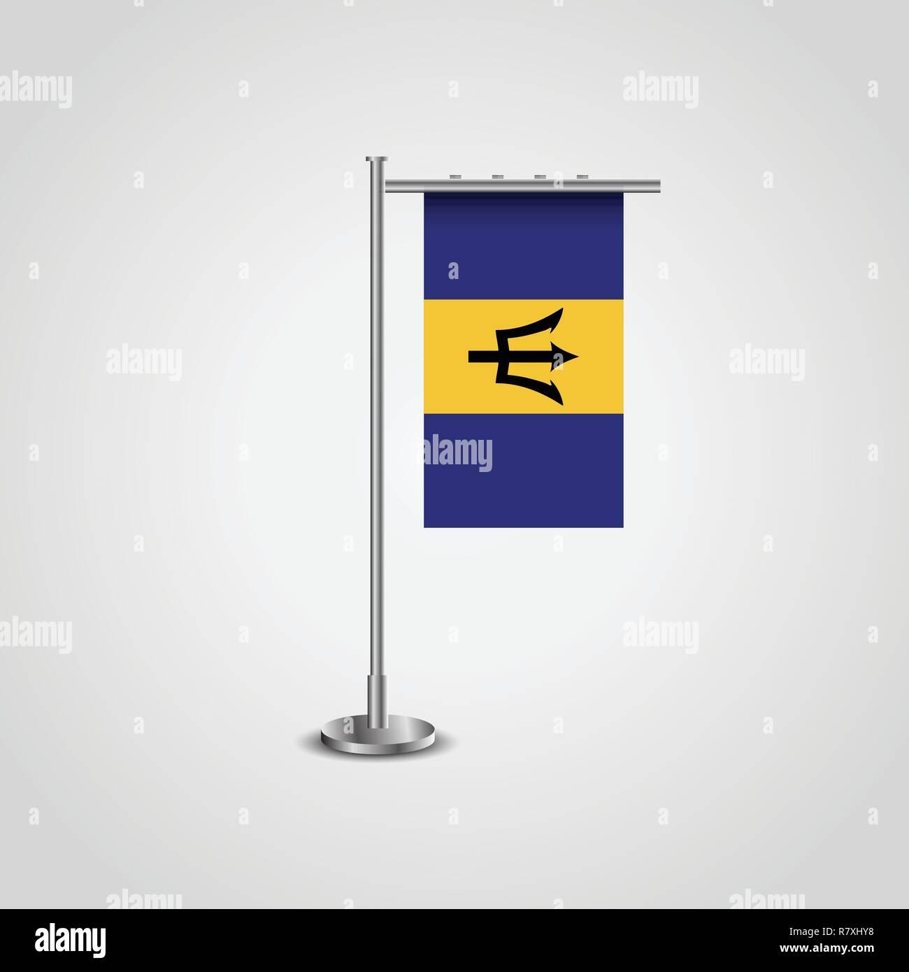 Barbados Flag Pole - Stock Vector