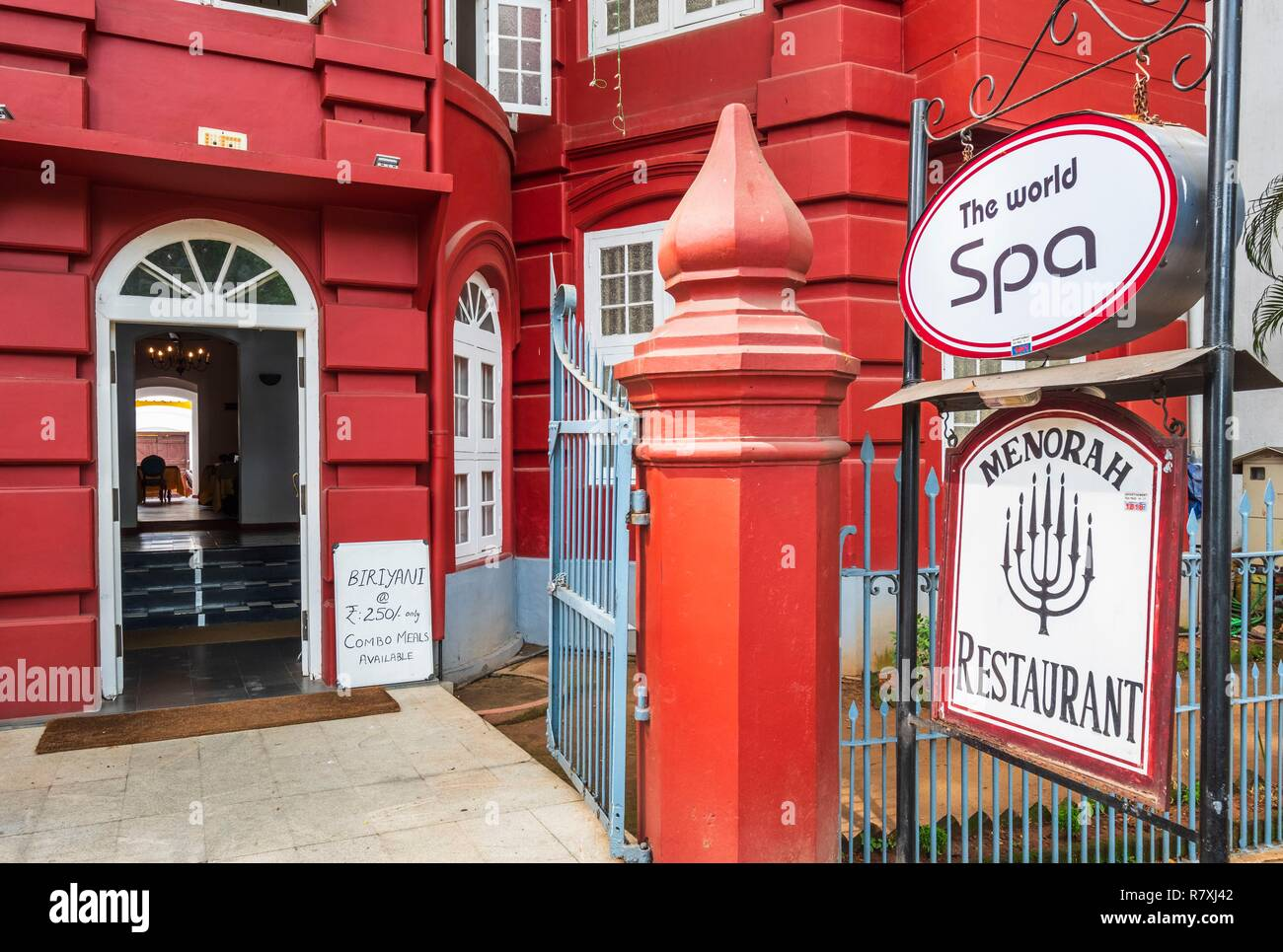 Inde, state of Kerala, Kochi (or Cochin), Fort Kochi (ou Fort Cochin) district, Koder House boutique hotel, portuguese architecture Stock Photo
