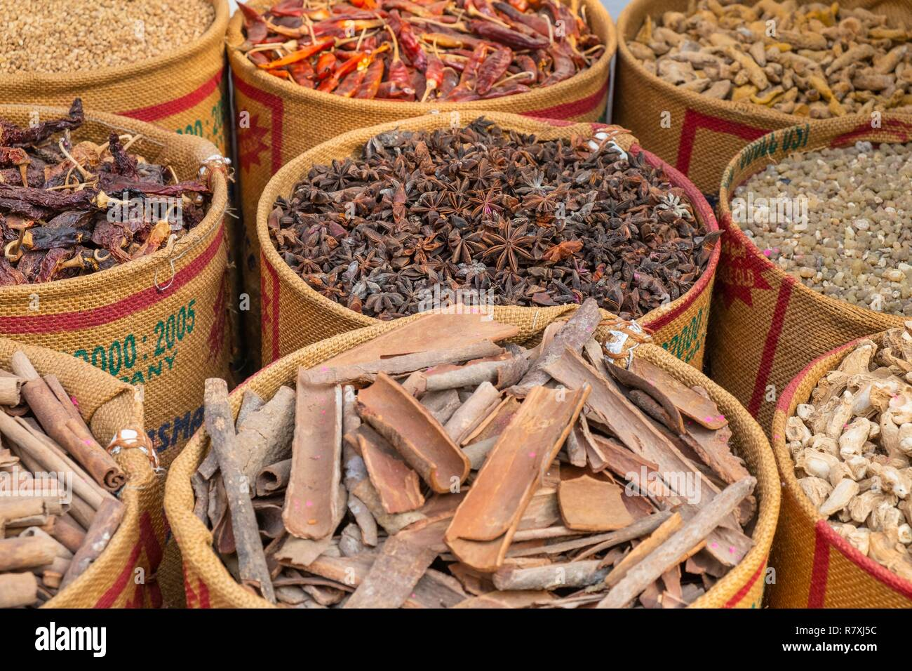 Inde, state of Kerala, Kochi (or Cochin), Fort Kochi (ou Fort Cochin) district, spices shop Stock Photo