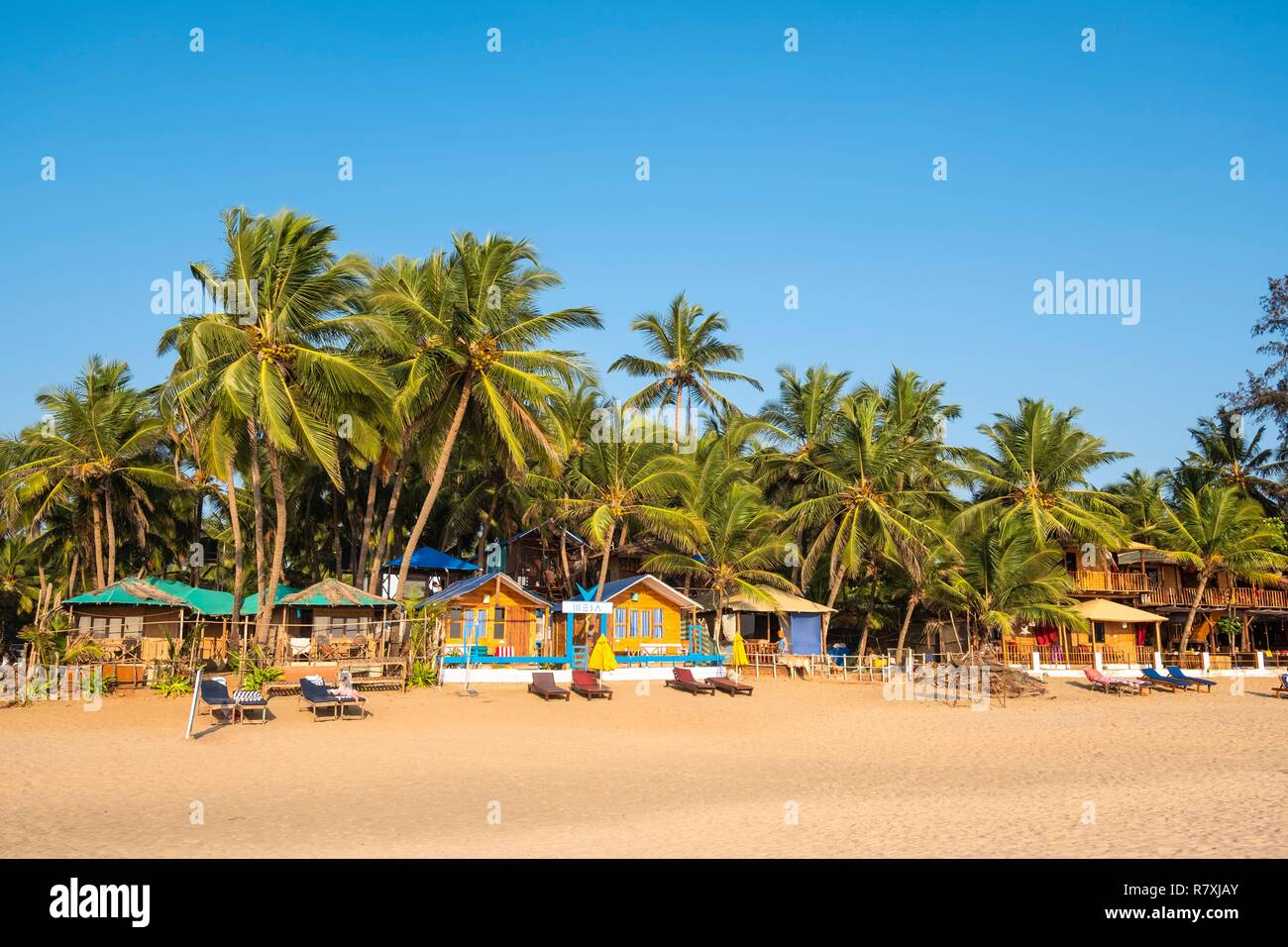India goa agonda beach bungalows along the beach