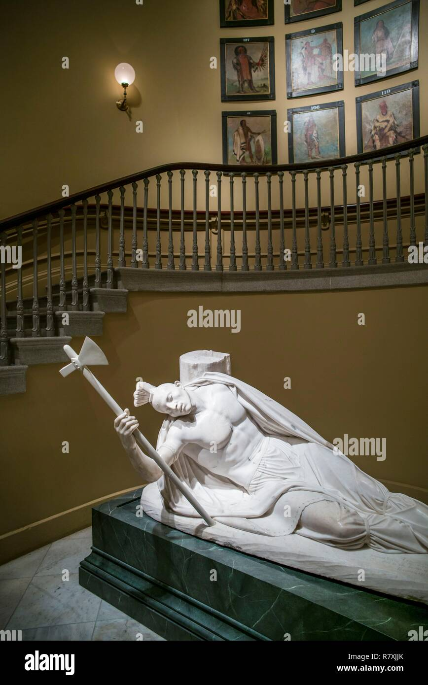 United States, District of Columbia, Washington, Reynolds Center for American Art, National Portrait Gallery, sculpture of The Dying Tecumseh by Ferdinand Pettrick - Stock Image