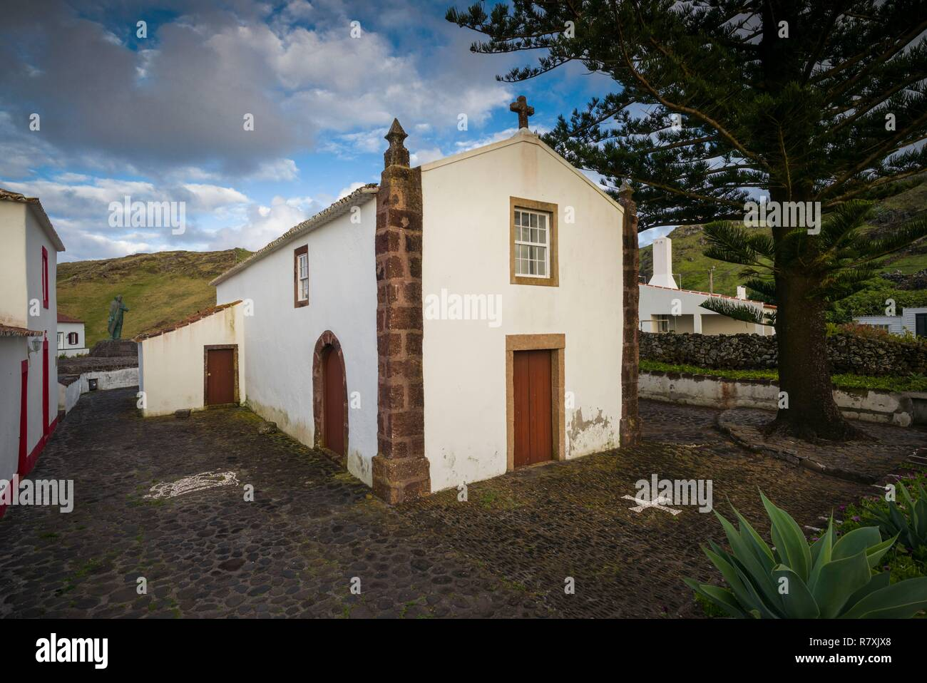 Portugal, Azores, Santa Maria Island, Anjos, place where Christopher Columbus made landfall after discovering the New World, Igreja Nossa Senhora dos Anjos, first church in the Azores, 15th century - Stock Image