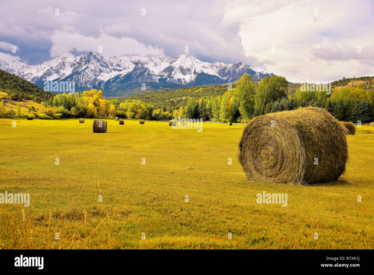 Mountain Valley And Hay Rolls Stock Photo 228623070 Alamy