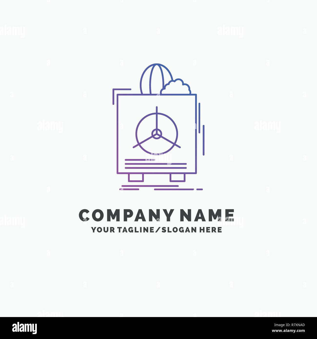 insurance, Fragile, product, warranty, health Purple Business Logo Template. Place for Tagline - Stock Vector
