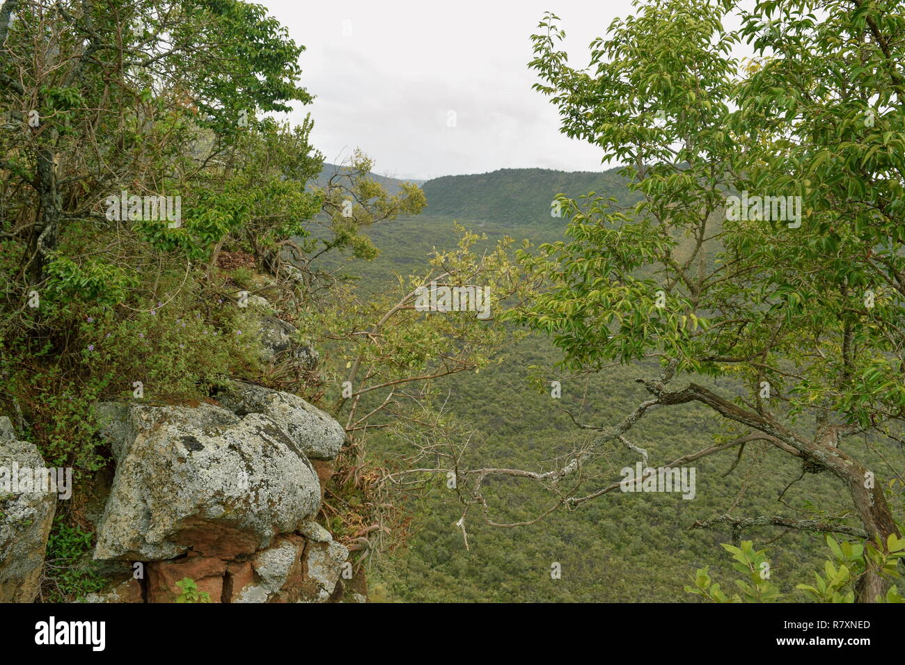 The volcanic crater at Mount Suswa, Rift Valley, KENYA Stock Photo