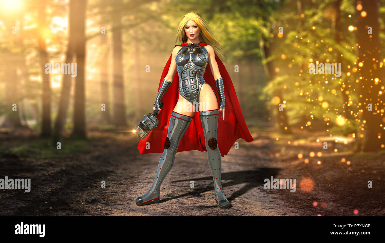 Nordic heroine woman with hammer in forest, Norse mythology superhero girl, ancient warrior princess with medieval weapon, 3D rendering - Stock Image