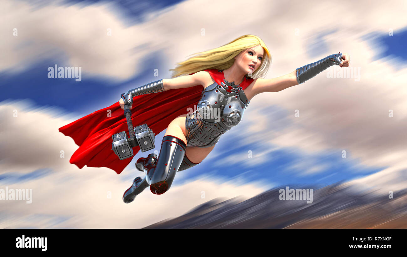 Nordic heroine woman flying with hammer, Norse mythology superhero girl, ancient warrior princess with medieval weapon, 3D rendering - Stock Image