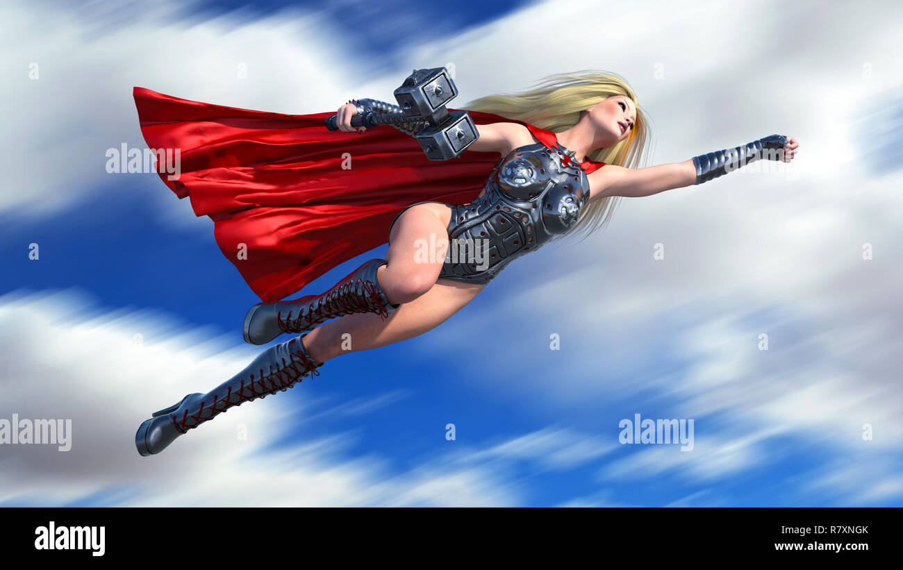 Nordic heroine woman with hammer flying over, Norse mythology superhero girl, ancient warrior princess, 3D rendering - Stock Image