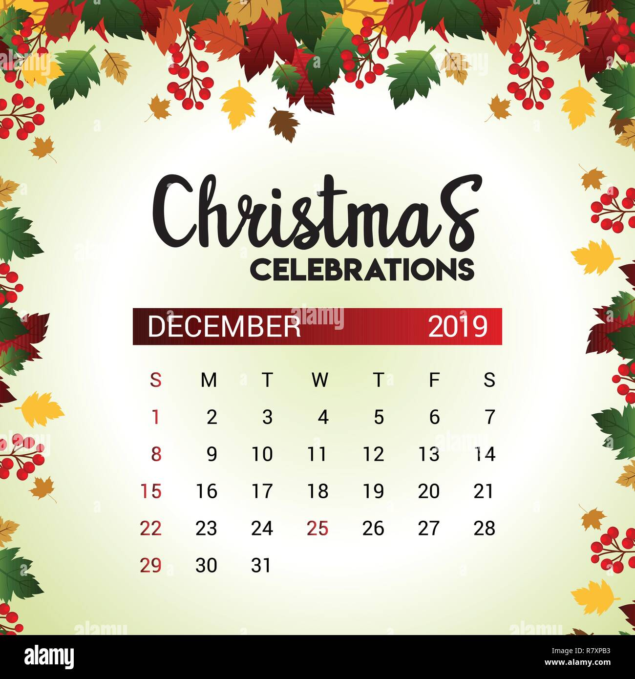 December Calendar 2019 Christmas 2019 December calendar design template of Christmas or New Year