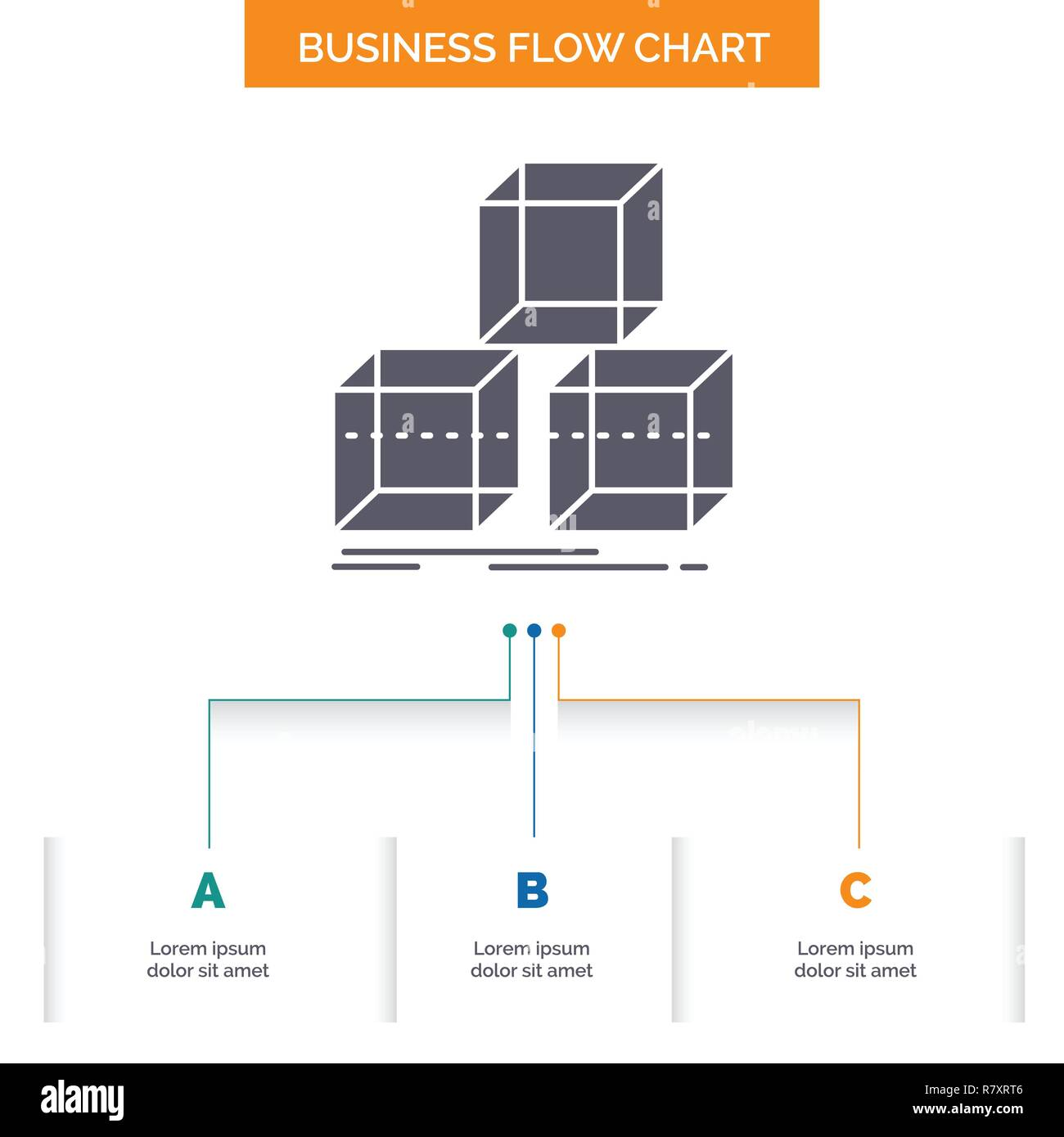 Arrange, design, stack, 3d, box Business Flow Chart Design with 3 Steps. Glyph Icon For Presentation Background Template Place for text. - Stock Vector