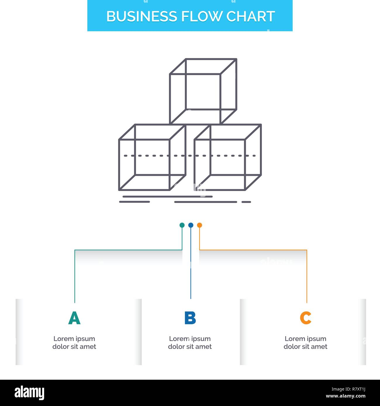 Arrange, design, stack, 3d, box Business Flow Chart Design with 3 Steps. Line Icon For Presentation Background Template Place for text - Stock Vector