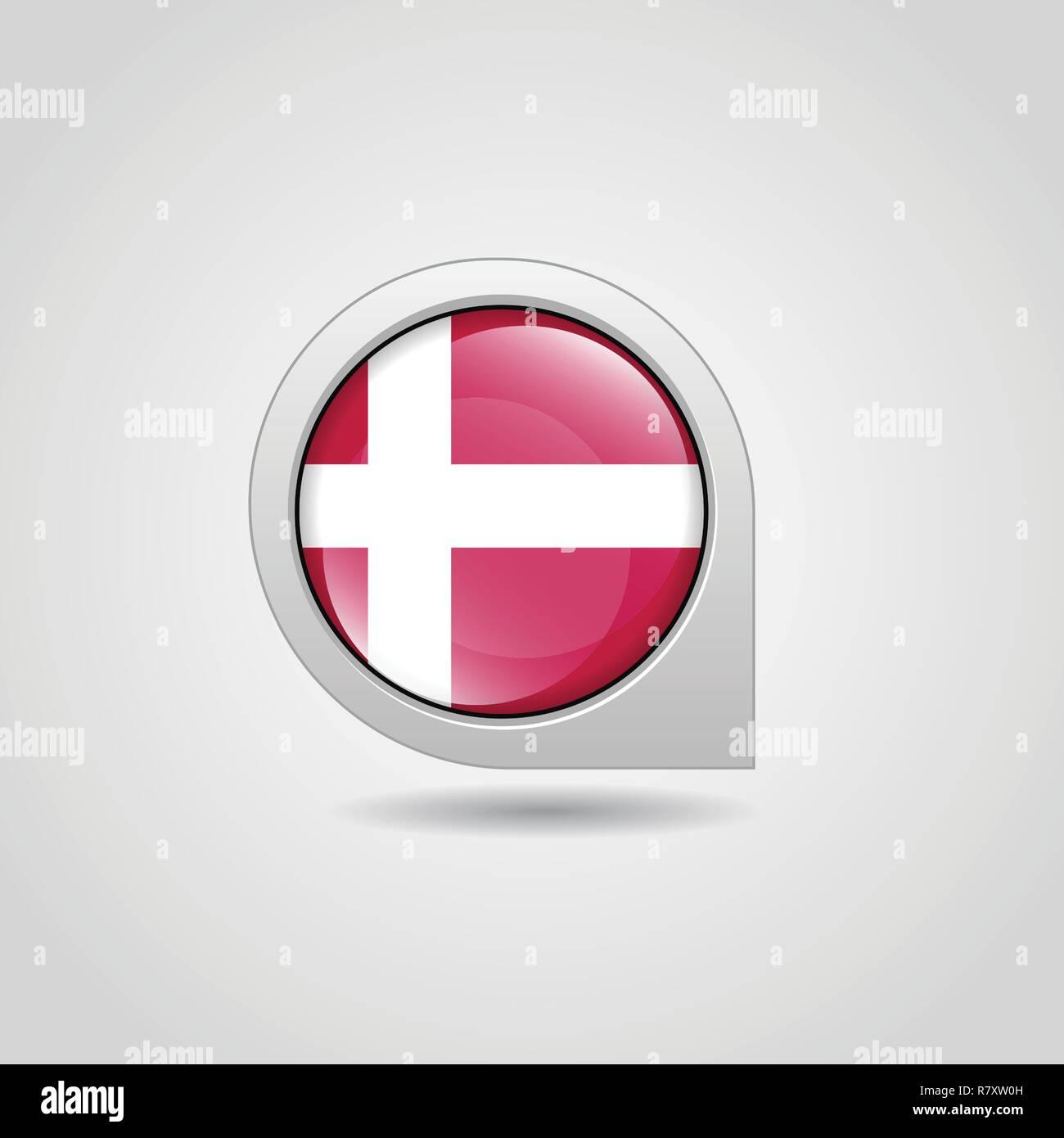 Denmark Flag Map Pin Stock Vector