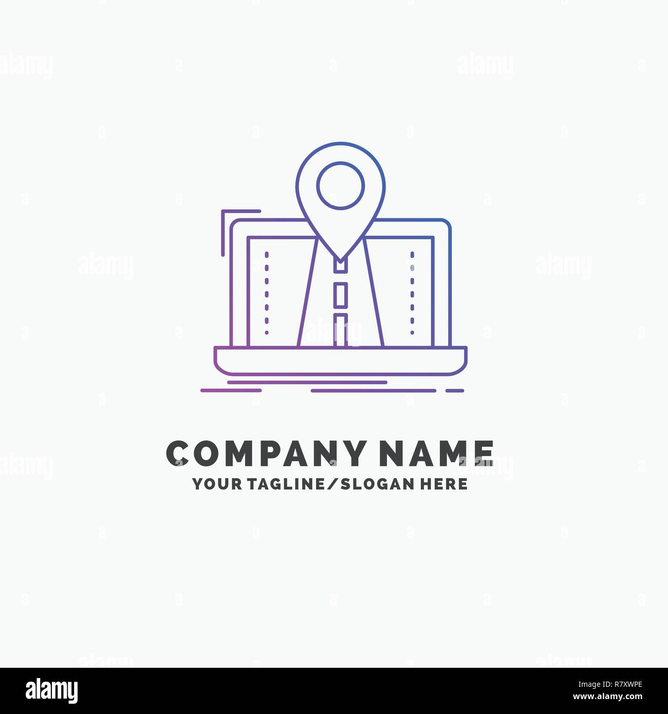 Navigation, Map, System, GPS, Route Purple Business Logo Template. Place for Tagline Stock Vector