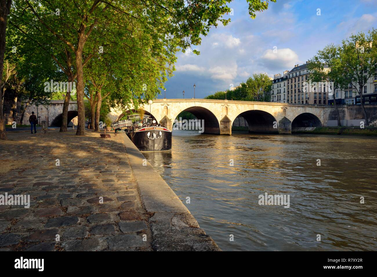 France, Paris, area listed as World Heritage by UNESCO, The Seine river, Boat moored along Seine River and the Pont Marie - Stock Image