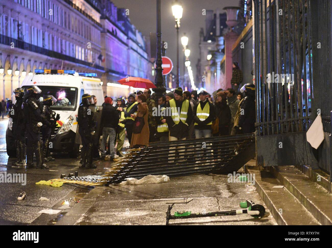 December 01 2018 Paris France French Police Stand Guard Near