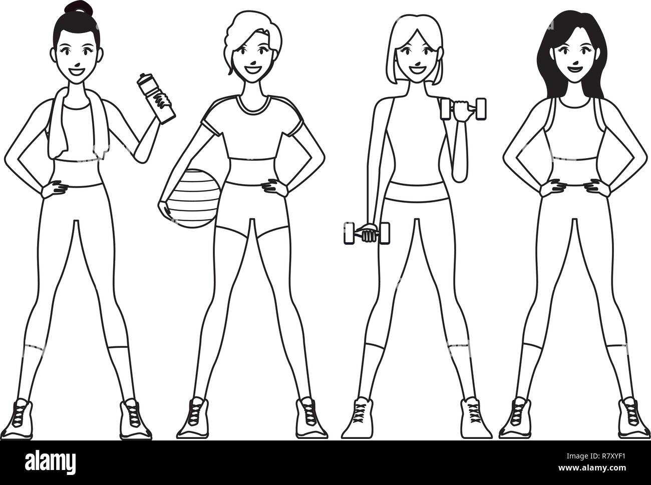 Fit Women Doing Exercise Stock Vector Image Art Alamy If you want to take your drawing to the next level, make the body outlines for your female figures proportionally correct. alamy