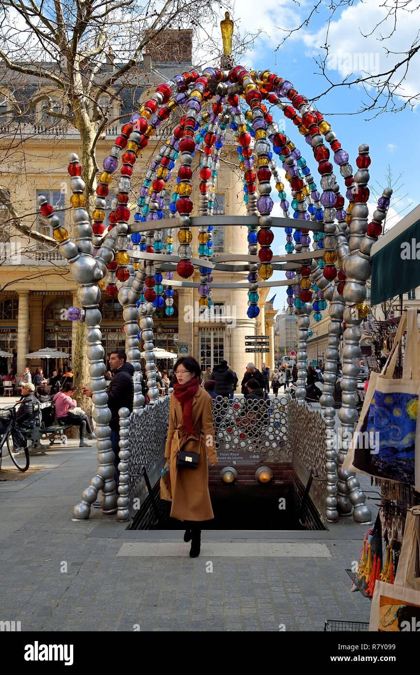 France, Paris, Palais Royal, Place Colette, metro stop of the Palais Royal Louvre Museum, designed by Jean Michel Othoniel in 2000, entitled Kiosque des Noctambules - Stock Image