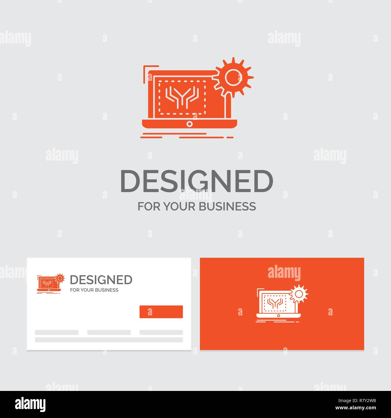 Business logo template for Blueprint, circuit, electronics, engineering, hardware. Orange Visiting Cards with Brand logo template. - Stock Image